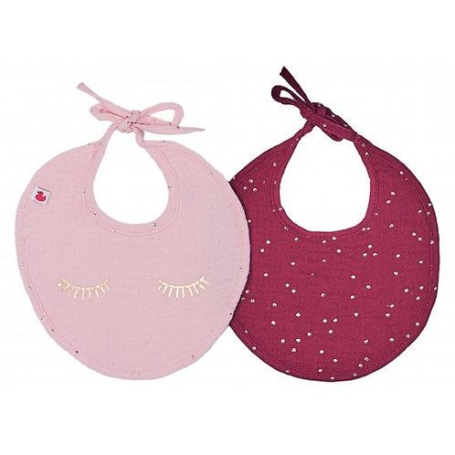 Lot de 2 bavoirs naissance en gaze de coton Girly Chic blush/prune pois or