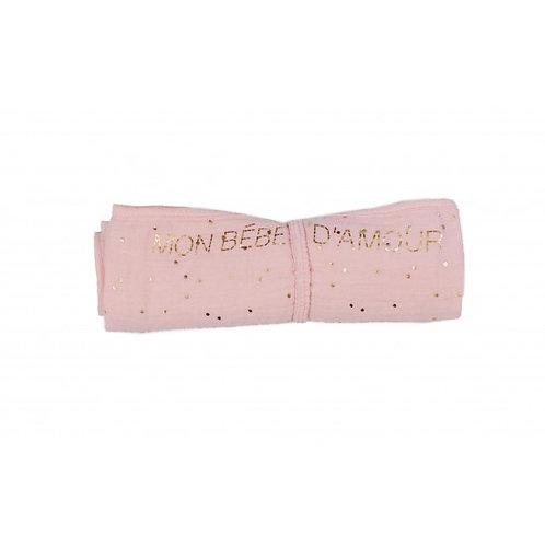 Lange en double gaze de coton gaufré rose blush pois or (BB&Co)
