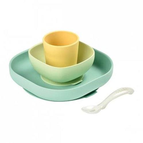Set vaisselle silicone 4 pièces jaune