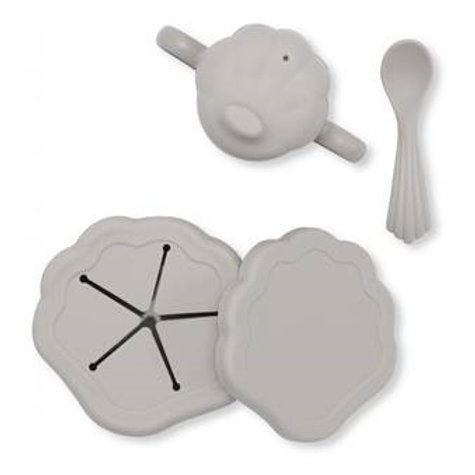 set vaisselle en silicone Clam - Set de 4 Gris konges slojd