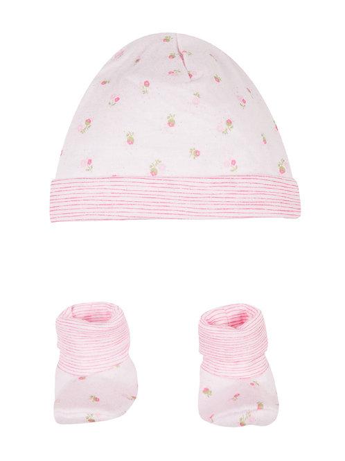 Ensemble bonnet et petits chaussons roses