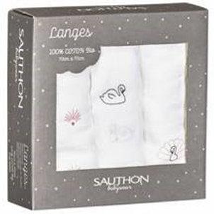 Coffret 3 langes coton bio Sauthon
