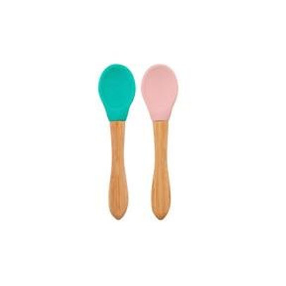 Lot 2 cuillères silicone & bambou Minikoioi - Rose/Vert
