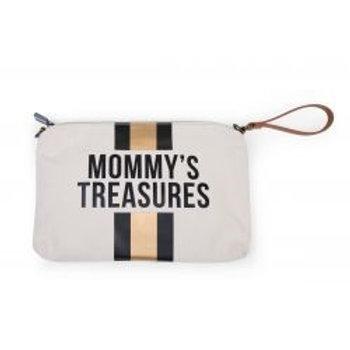 MOMMY'S TREASURES CLUTCH - ECRU RAYURES NOIR/OR