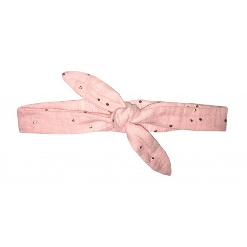 Bandeau à nouer gaze rose blush pois or