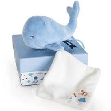 Peluche avec doudou baleine bleue (15 cm) Doudou et Compagnie
