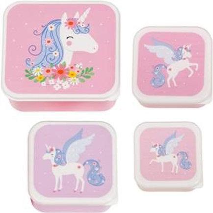 Lot de 4 boîtes à goûter Licorne A Little Lovely Company
