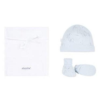 Chaussons + bonnet bleu ABSORBA coton bio