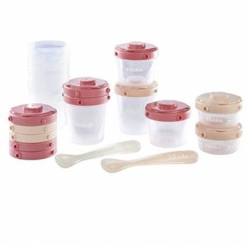 Pack 1er repas portions clip + cuillères 1er âge rose