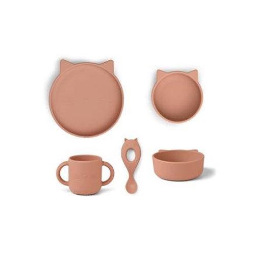 Vaisselle en silicone Vivi pack de 4 - Bébé - Chat rose foncé LIEWOOD