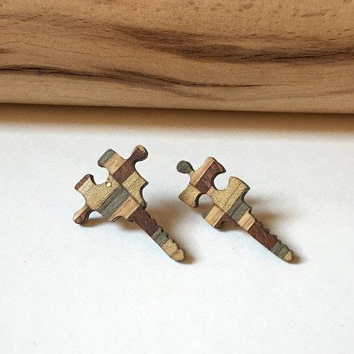 """Boucles-puces """"Les clefs du mystère""""marron doré"""