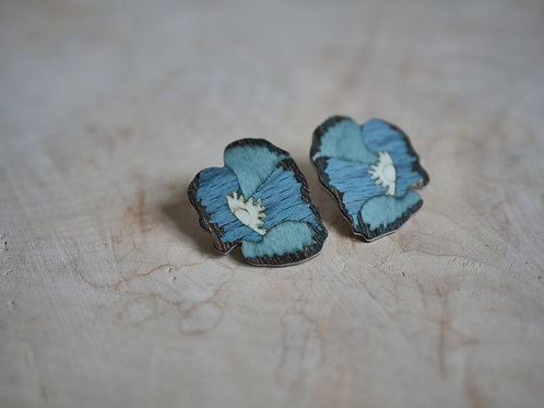 "Boucles ""Coquelicot"" bleu ciel-blanc"