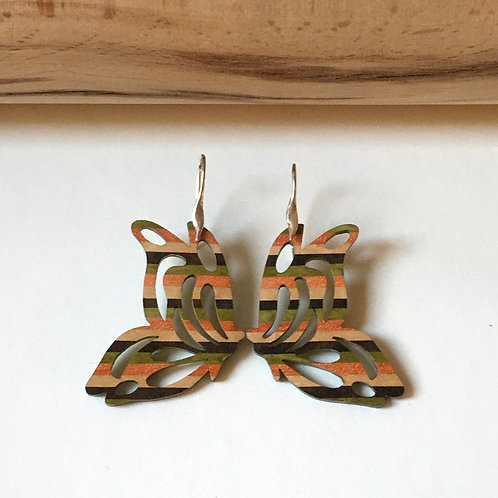 """Boucles d'oreilles """"Papillon"""" orange et vert"""