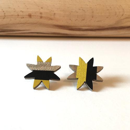 """Boucles-puces """"La grande étoile"""" jaune et gris"""