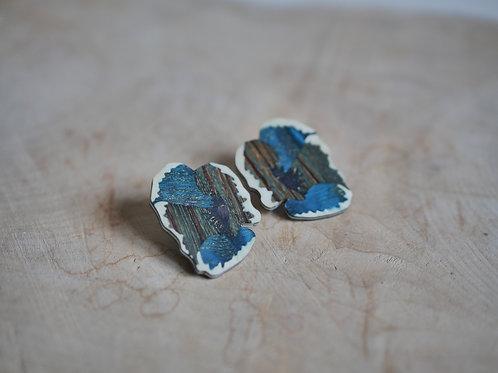 """Boucles """"Coquelicot"""" bleu foncé"""