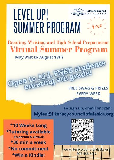 Level Up! Summer Program 2021 Flyer- all