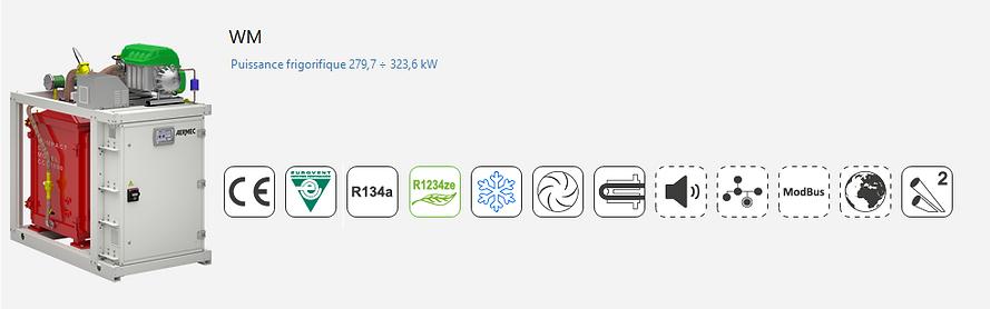 WM;Groupe Froid;AERMEC;Eurovent;Climatisation;Tertiaire;Industrie;Eau Glacee;R134a;R1234ZE;Compresseur;Turbocor