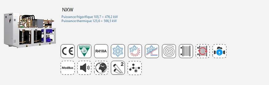 NXW;Groupe Froid;AERMEC;Eurovent;Climatisation;chauffage;Moto-Evaporateur;Tertiaire;Industrie;Eau Glacee;PAC;Pompe a Chaleur;R410A;Moto-Evaporation