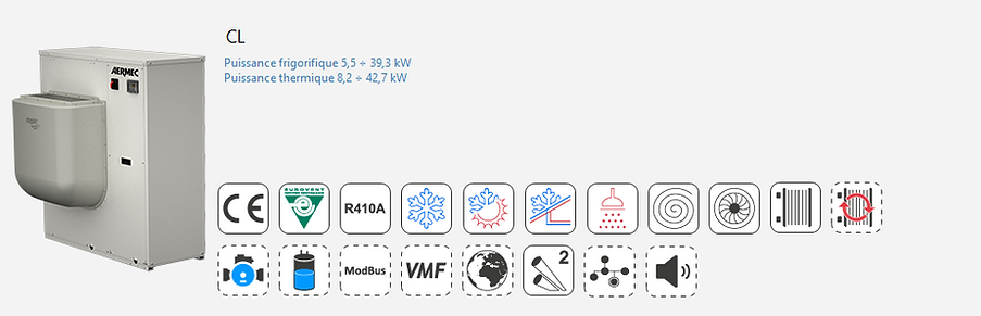 CL;Groupe Froid;AERMEC;Eurovent;Climatisation;chauffage;confort;Tertiaire;Industrie;Eau Glacee;PAC;Pompe a Chaleur;R410A;Canalisable;Condensation;Pompe à chaleur petit tertiaire