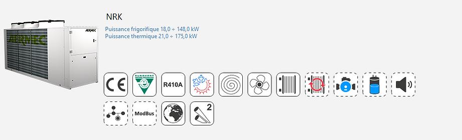 NRK;Groupe Froid;AERMEC;Eurovent;Climatisation;chauffage;confort;Tertiaire;Industrie;Eau Glacee;PAC;Pompe a Chaleur;R410A;Haute temperature;Pompe à chaleur petit tertiaire