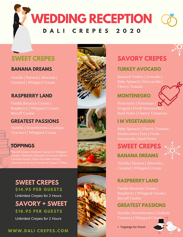Dali Crepes Wedding Reception Catering Menu for 2020