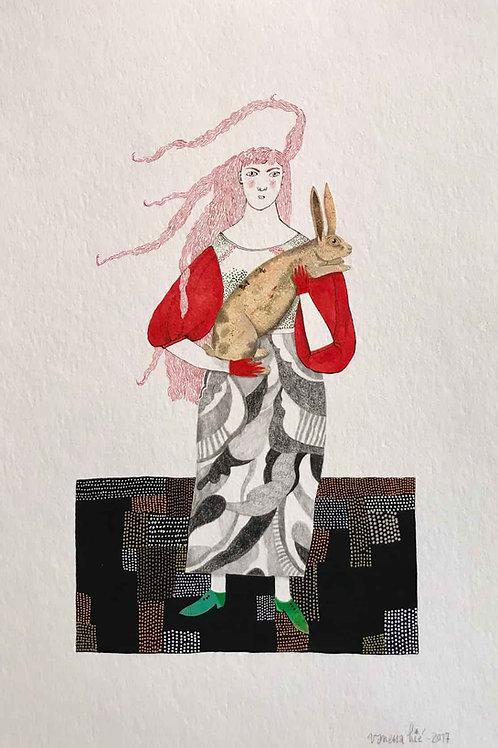 La femme au lapin