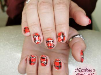 Nail art motif tartan