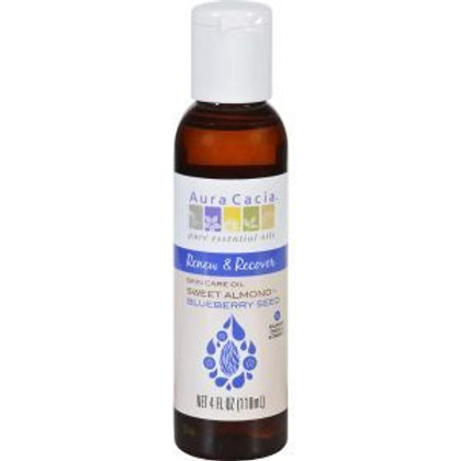 Aura Cacia Renew and Recover Sweet Almond Plus Blueberry Seed, Skin Care 4oz