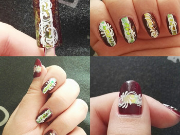 Nail art arabesque et flackies