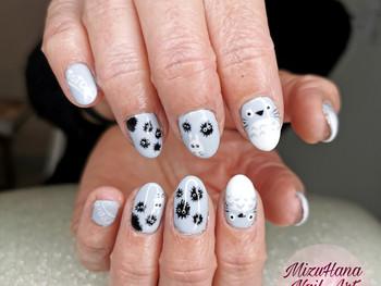 Nail art Totoro en semi permanent