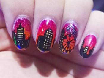 Nail art New York au coucher de soleil