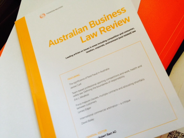 A picture of the front cover to Australian Business Law Review Vol 43