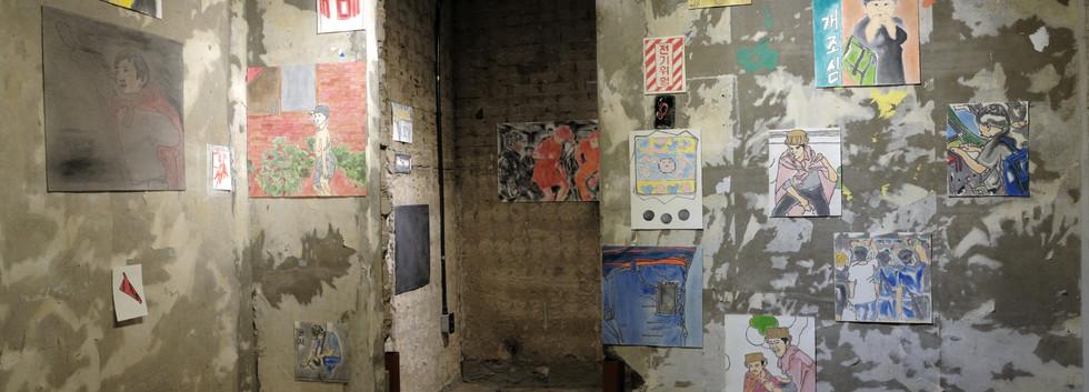 박철희 installation view  <우리동네 골목대장 철이>, oil on canvas, variable installation(series), 2019