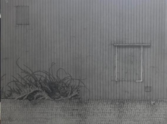 이채영, <벽>, 132*162cm, 한지에 먹, 2016