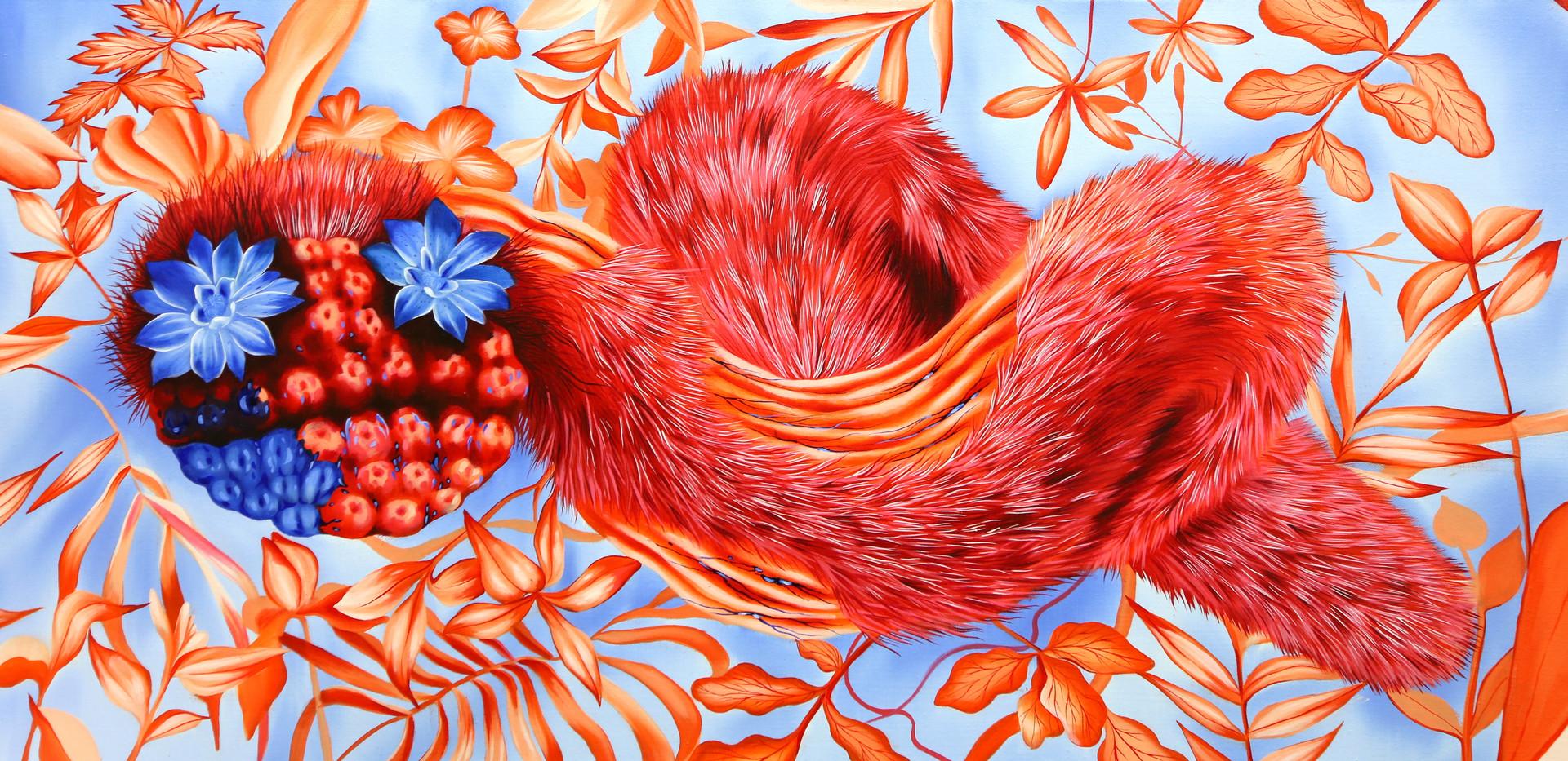 김영래, <따뜻한가시2>, 45*91cm, oil on canvas, 2018