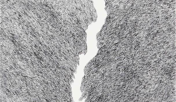 이정식, <서로>, 53*45cm,  캔버스에 먹, 아크릴, 2018