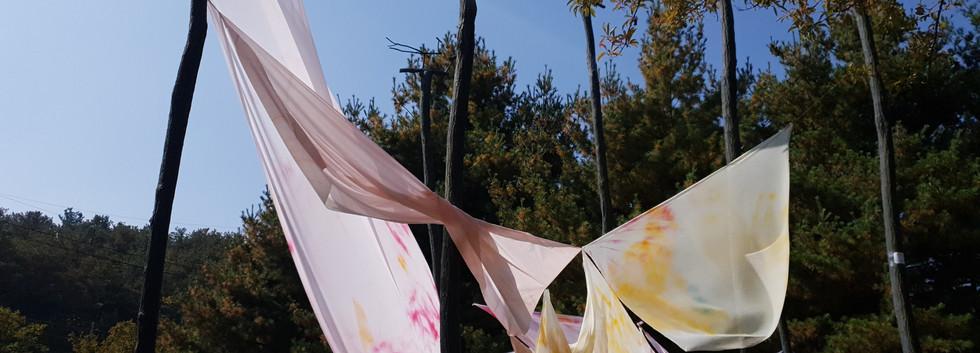 김지윤, <흩어진R>, color spray on fabric, variable installation, 2018