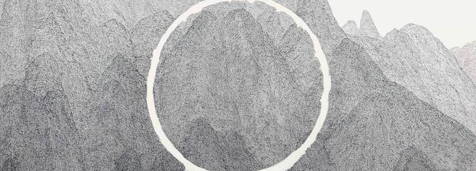 이정식, <O>, 112.1*162.2cm, 캔버스에 먹, 아크릴, 2018
