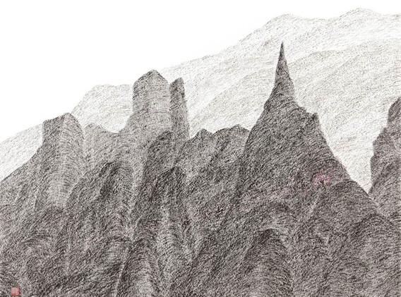 이정식,  <Wave>, 90*72cm, 캔버스에 먹, 아크릴, 2017