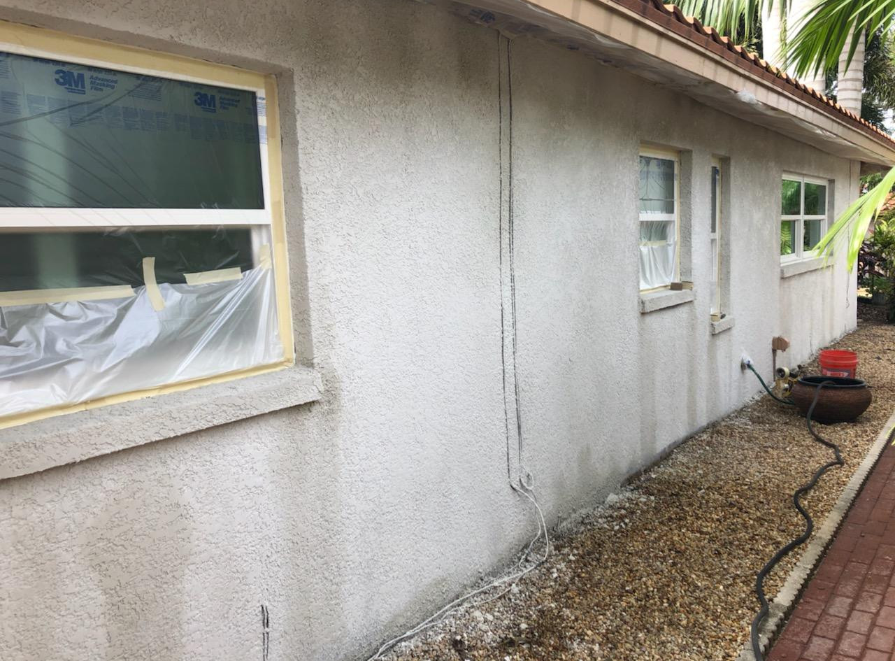 Freshly applied stucco