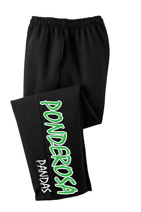 Black Pocket Sweat Pants with open bottoms