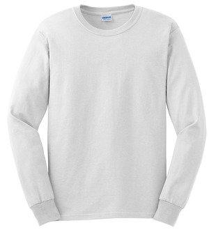 100% Cotton  White T-shirt Long Sleeve (LJ)