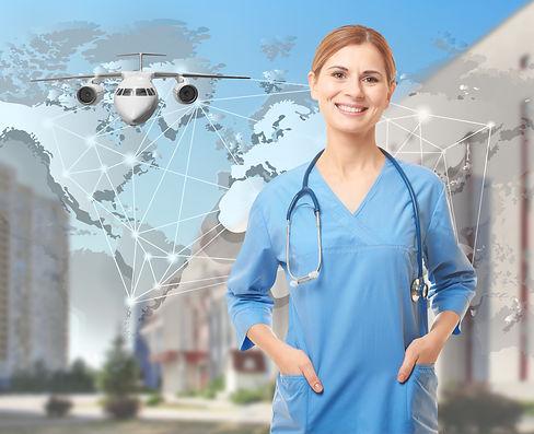 Travel nursing concept. Yong doctor on c