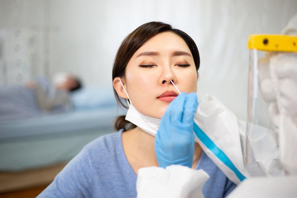 Coronavirus test - Medical worker taking