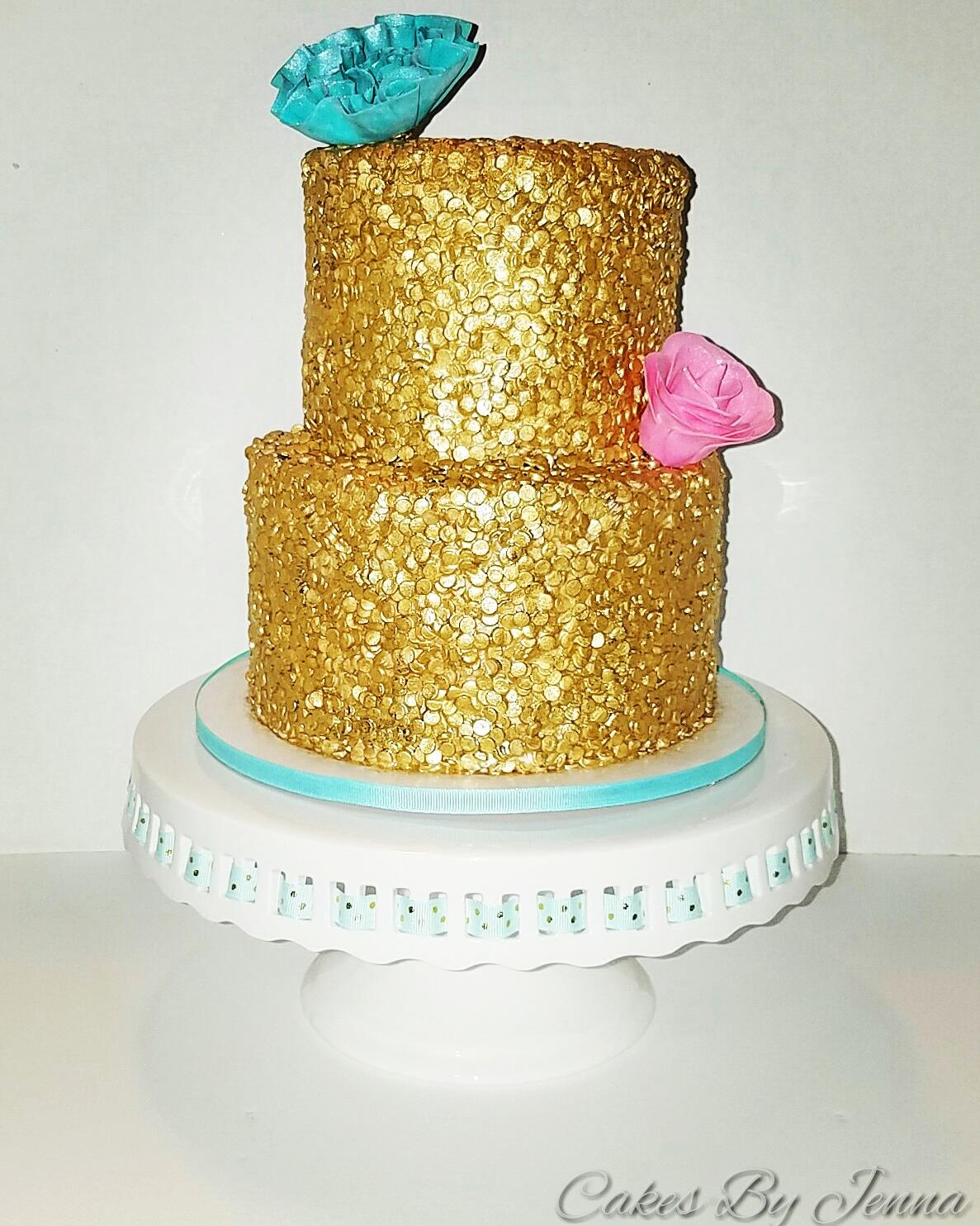 Gold Sequin 21st Birthday Cake
