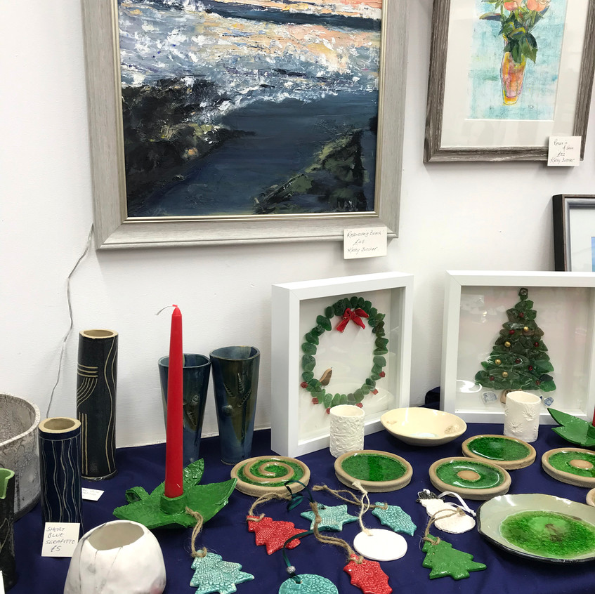pottery and glass by Liz Mitchell