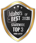 Gold and black shield reads Idaho's Best of 2020 Statewide Top 3