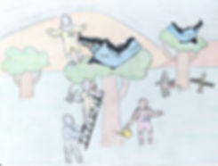 drawing of comunity acupuncture patients and staff