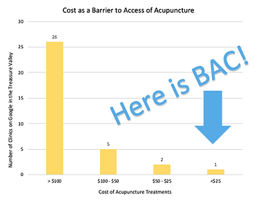 bar graph showing the cost of acupuncture treatment in the treasure valley