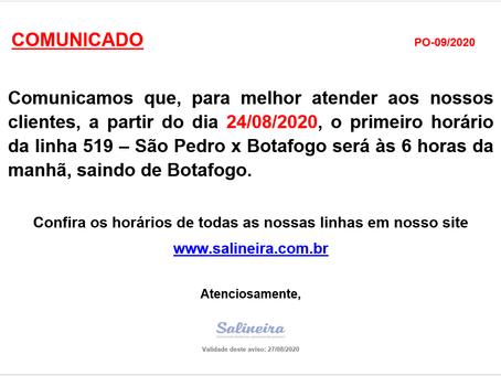 Linha 519 - alteração do primeiro horário, saindo de Botafogo, a partir de 24/08/2020